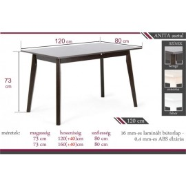 Anita asztal 120 x 80